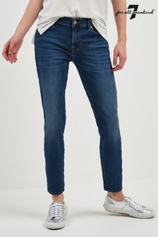 7 For All Mankind - Jeans slim lavaggio blu corti a vita alta