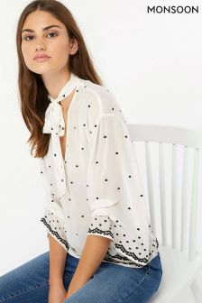 Monsoon Cream Halle Heart Embellished Blouse