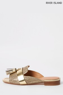 River Island Gold Weave Tassel Loafer