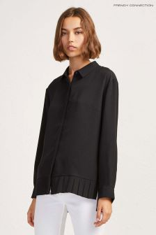 French Connection Black Crepe Light Pleat Shirt