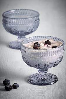 Set of 2 Pressed Glass Dessert Dishes
