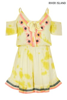 River Island Yellow Embroidered Playsuit