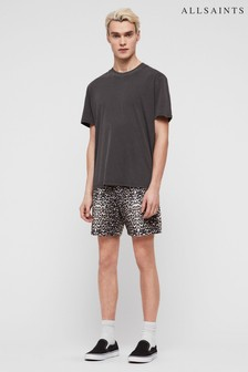 AllSaints Black Leopard Warden Swim Short