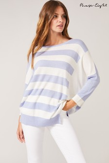 Phase Eight Cream Farla Cut About Stripe Knit Top