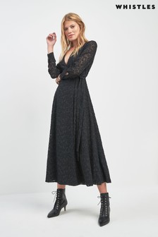 Whistles Black Animal Devore Wrap Dress