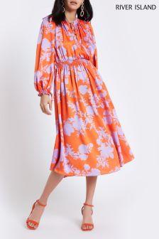 River Island Orange Floral Tie Neck Midi Dress