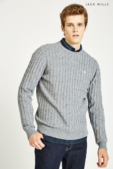 Jack Wills Grey Marl Marlow Cable Crew