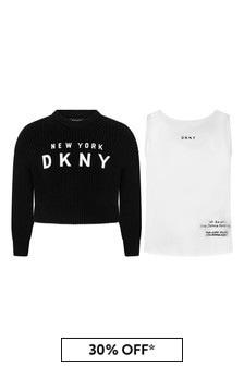Girls Black 2-In-1 Sweater Set