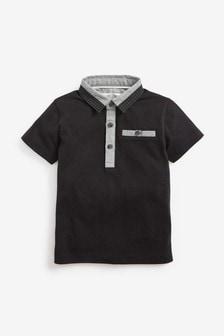 Kurzärmeliges Poloshirt mit Webstoffkragen (3Monate bis 7Jahre)
