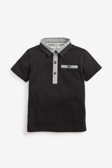 Short Sleeve Woven Collar Poloshirt (3mths-7yrs)