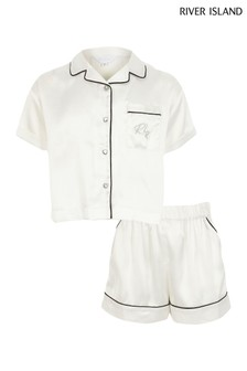 River Island White Mono Satin Set