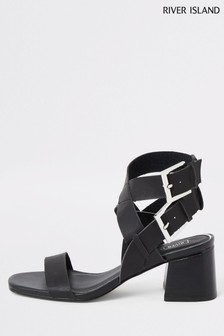 River Island Black Buckle Block Heel Twp Part Sandals