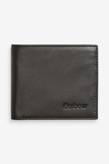 Barbour® Black Leather Billfold Wallet