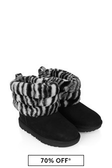 Girls Black/White Fluff Mini Quilted Boots