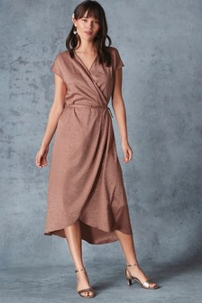 6d5cb4d1f50 Animal Jacquard Wrap Dress