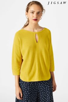 Jigsaw Yellow Keyhole Front Rib Jumper
