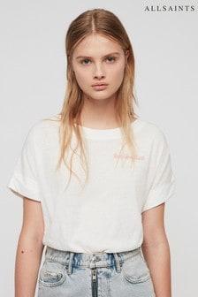 AllSaints White Imogen Slogan T-Shirt