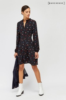 Warehouse Black Horseshoe Print Shirt Dress