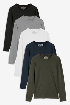 Long Sleeve Stretch Cotton T-Shirts Five Pack