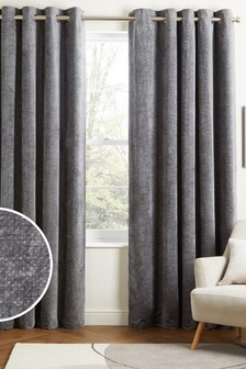 Charcoal Grey Cosy Chenille Eyelet Lined Curtains