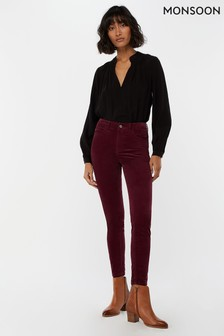Monsoon Ladies Red Kendall Cord Trouser