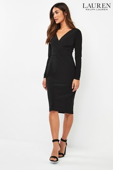 Lauren Ralph Lauren® Black Alexie Wrap Belted Dress