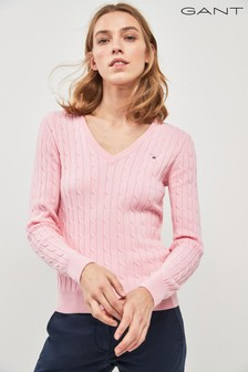 GANT Pink Cable V-Neck Sweater