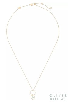 Oliver Bonas Jacopo Stone Gold Plated Brass Necklace