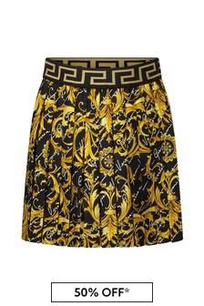 Girls Black & Gold Baroque Silk Skirt