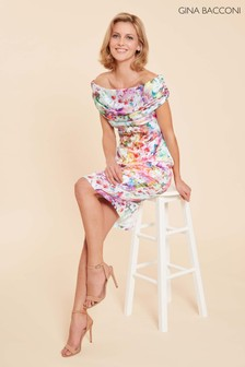 Gina Bacconi Pink Saletta Floral Satin Dress