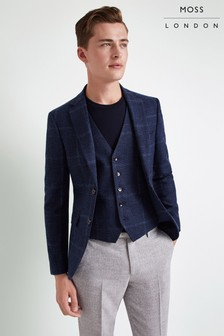 Moss London Skinny Fit Blue Check Jacket