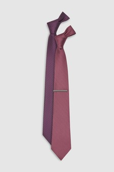 Textured Ties Two Pack Tie With Tie Clip