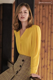 Warehouse Yellow V-Neck Pleat Top