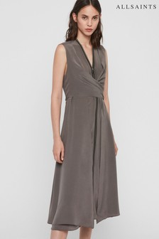 AllSaints Soft Grey Silk Jayda Dress