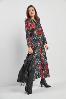 Платье-рубашка миди с цветочным рисунком