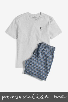 Personalised Check Woven Pyjama Short Set