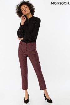 Monsoon Ladies Red Frankie Fabric Interest Trouser