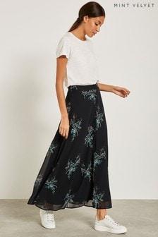 Jupe longue Mint Velvet Jane noire imprimée