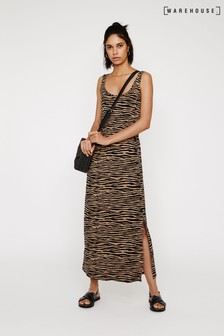 Warehouse Brown Tiger Print Maxi Dress