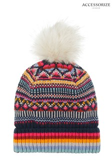 Accessorize Harvard Fairisle Pattern Faux Fur Pom Beanie
