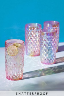 Set of 4 Plastic Faceted Lustre High Ball Glasses