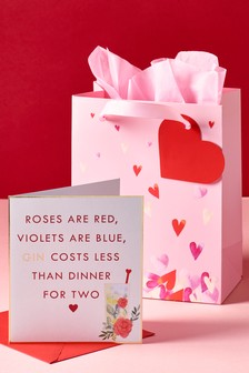 Valentines Gin Card And Bag Bundle