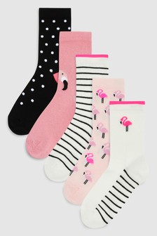 Flamingo Ankle Socks Five Pack (Older)