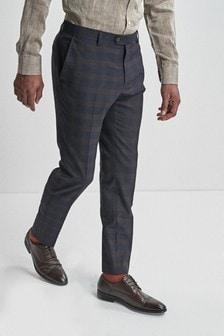 Garnitur w kratę o dopasowanym kroju: Spodnie