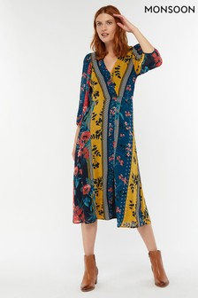 Monsoon Ladies Blue Peggy Patch Print Midi Dress