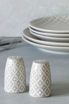 Geo Embossed Ceramic Salt And Pepper Shakers