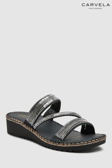 Carvela Comfort Black Leather Sula Sandal