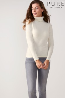 Pure Collection White Cashmere Roll Neck Sweater