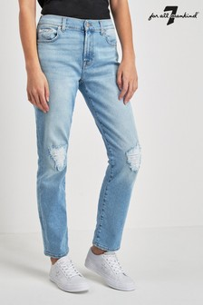 7 For All Mankind Light Blue Distressed Slim Relaxed Jean