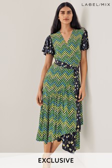 Mix/Caroline Issa Print Wrap Dress